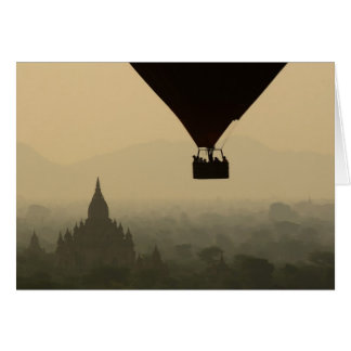 Asia, Myanmar, Bagan, balloon over temples of Greeting Card
