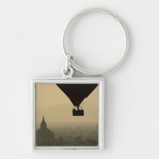 Asia, Myanmar, Bagan, balloon over temples of Silver-Colored Square Keychain