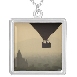 Asia, Myanmar, Bagan, balloon over temples of Square Pendant Necklace