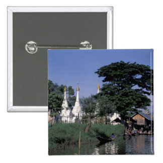 Asia, Myanmar, Inle Lake. A floating market. 2 Inch Square Button