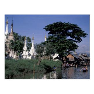 Asia, Myanmar, Inle Lake. A floating market. Postcard