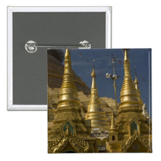 Asia, Myanmar, Yangon. Golden stupa of Shwedagon 2 Inch Square Button