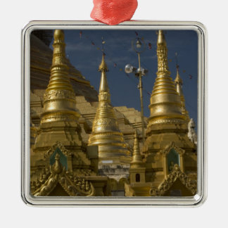 Asia, Myanmar, Yangon. Golden stupa of Shwedagon Silver-Colored Square Ornament
