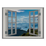 Asia Ocean Misty Blue Mountains Faux Window View Poster