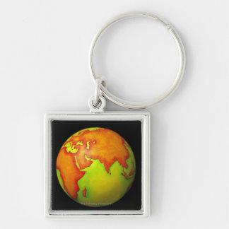 Asia on a Globe Key Chains