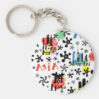 Asia | Symbols Pattern Basic Round Button Keychain