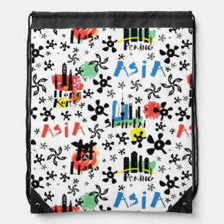 Asia | Symbols Pattern Drawstring Bag