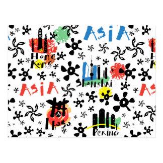 Asia | Symbols Pattern Postcard