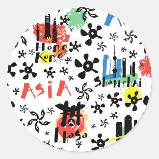 Asia | Symbols Pattern Round Sticker