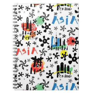 Asia | Symbols Pattern Spiral Note Book