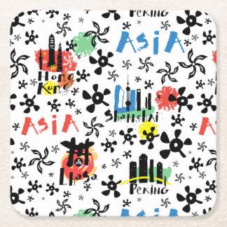 Asia   Symbols Pattern Square Paper Coaster