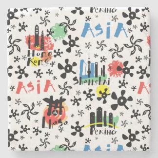 Asia   Symbols Pattern Stone Coaster