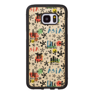 Asia | Symbols Pattern Wood Samsung Galaxy S7 Edge Case