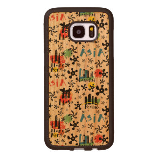 Asia | Symbols Pattern Wood Samsung Galaxy S7 Edge Case