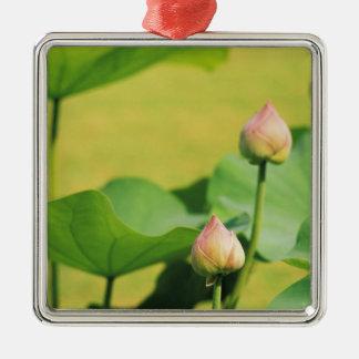 Asia, Thailand, Bangkok. Grand Palace, lotus Silver-Colored Square Ornament
