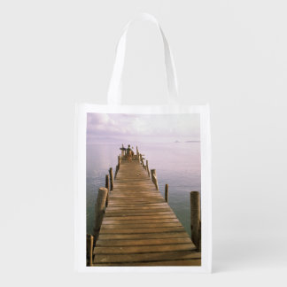 Asia, Thailand, Ko Samui Island. Dock. Reusable Grocery Bag