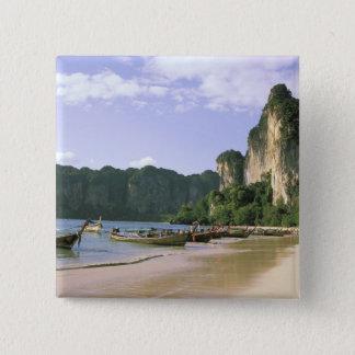 Asia, Thailand, Krabi. West Railay Beach, long 2 Inch Square Button