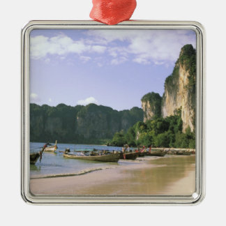 Asia, Thailand, Krabi. West Railay Beach, long Silver-Colored Square Ornament