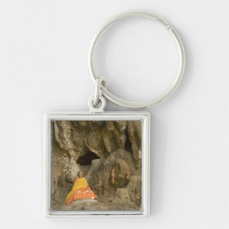 Asia, Thailand, Mae Hong Son, Buddha Images Silver-Colored Square Keychain