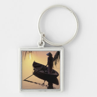 Asia, Vietnam, Mekong Delta, Can Tho. Evening Silver-Colored Square Keychain