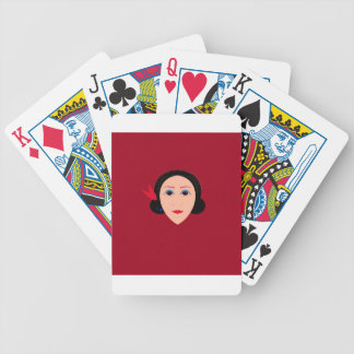 Asia wellness woman on  red bicycle playing cards