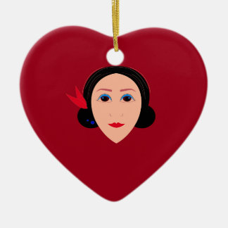 Asia wellness woman on  red ceramic ornament