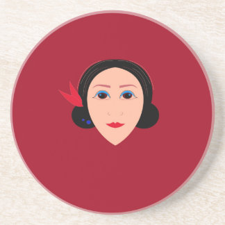 Asia wellness woman on  red coaster