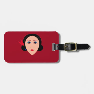 Asia wellness woman on  red luggage tag
