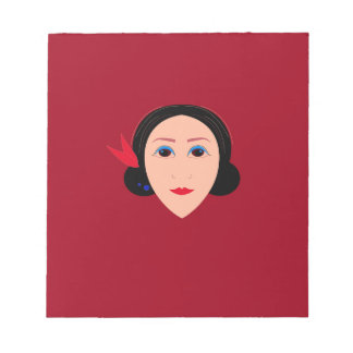 Asia wellness woman on  red notepad