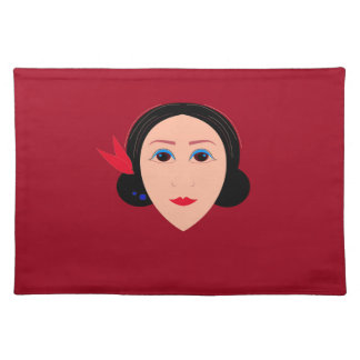 Asia wellness woman on  red placemat