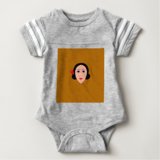 Asia woman on gold baby bodysuit