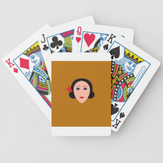 Asia woman on gold bicycle playing cards