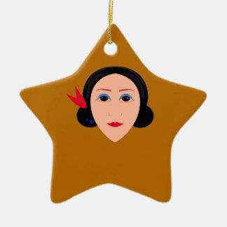 Asia woman on gold ceramic ornament