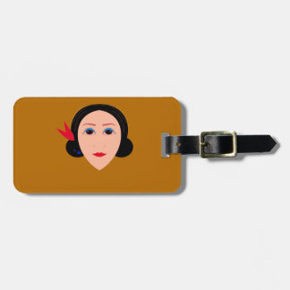 Asia woman on gold luggage tag