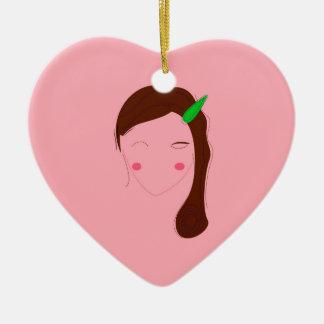 Asia woman pink wellness girl ceramic ornament