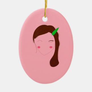 Asia woman pink wellness girl ceramic ornament