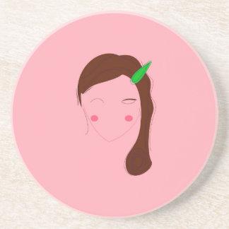 Asia woman pink wellness girl coaster