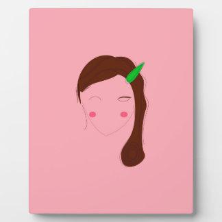 Asia woman pink wellness girl plaque
