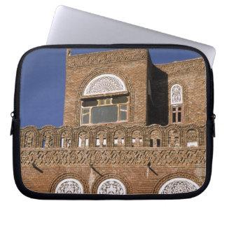 Asia, Yemen, Sana'a. Yemeni architecture detail. Laptop Sleeve