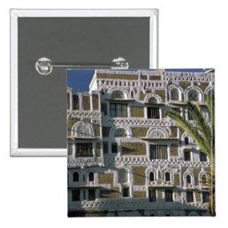 Asia, Yemen, Sana'a. Yemeni house. 2 Inch Square Button