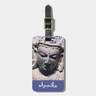 Asian antique, carved stone face photo custom name luggage tag