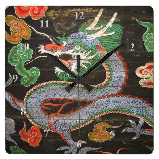 Asian Art Bright Colorful | Dragon Square Wall Clock