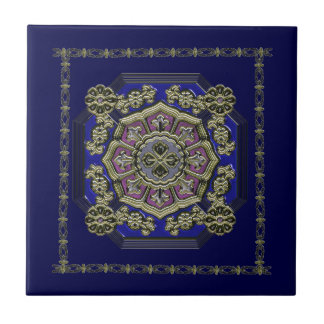 Asian Art Deco Traditional Jeweled Tile