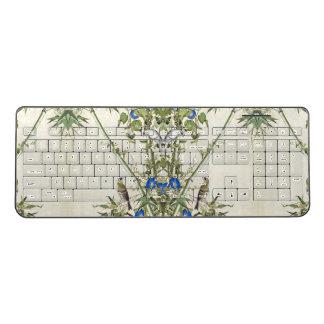 Asian Bamboo Birds Blue Flower Wireless Keyboard