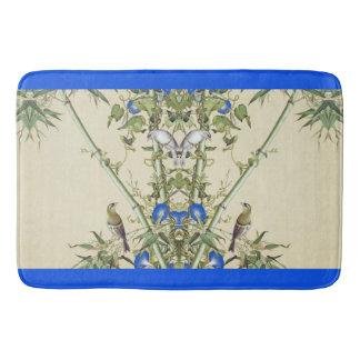 Asian Bamboo Birds Blue Flowers Bath Mat