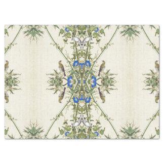 Asian Bamboo Birds Blue Flowers Tissue Paper