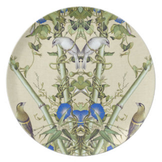 Asian Bamboo Blue Flowers Birds Melamine Plate