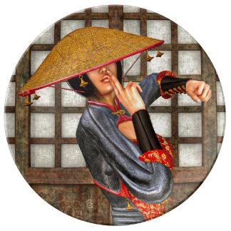Asian Battle Woman Porcelain Plates