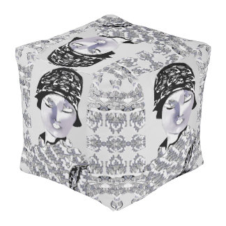 Asian Beauty Pouf - Home Decor - Black/White/Gray