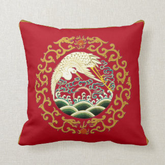 Asian Bird Art on Deep Red Background Pillow